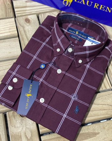 Camisa Ralph Lauren Masculina Custom Fit Plaid vinho