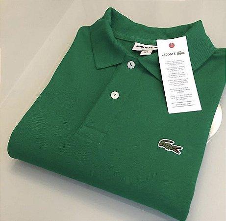 Camisa Polo Lacoste Croc Bordado Verde