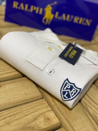 Camisa Polo Ralph Lauren Custom-Fit Shield Branca