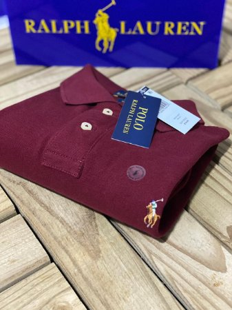 Camisa Polo Ralph Lauren Custom-Fit Coloured Vinho