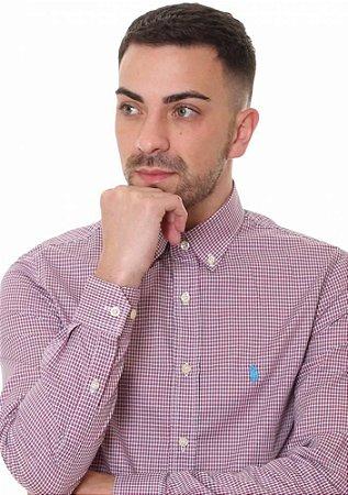 Camisa Ralph Lauren Masculina Custom Fit Plaid Vermelha e branca