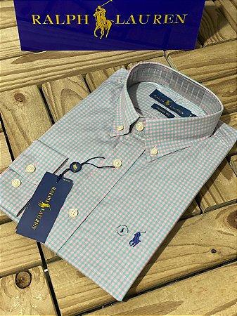 Camisa Ralph Lauren Masculina Custom Fit Plaid Cinza e azul