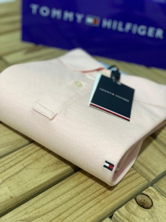 Polo Tommy Hilfiger Masculina Regular Fit Rosa claro