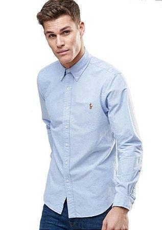 Camisa Ralph Lauren Masculina Custom Fit Oxford Coloured Azul
