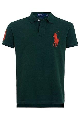 Camisa Polo Ralph Lauren Custom-Fit Big Pony Verde