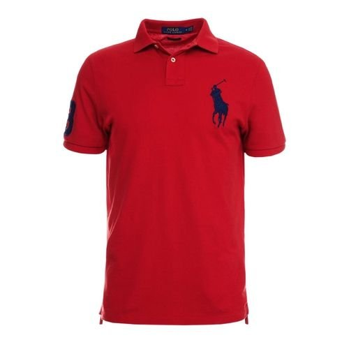 Camisa Polo Ralph Lauren Custom-Fit Big Pony Vermelha