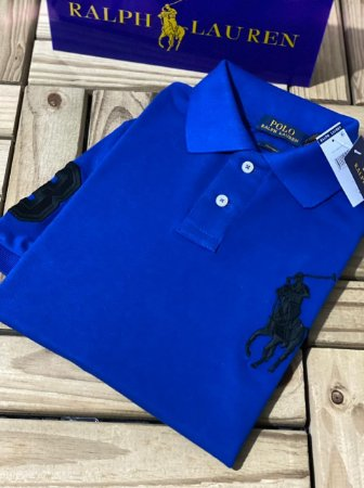 Camisa Polo Ralph Lauren Custom-Fit Big Pony Azul