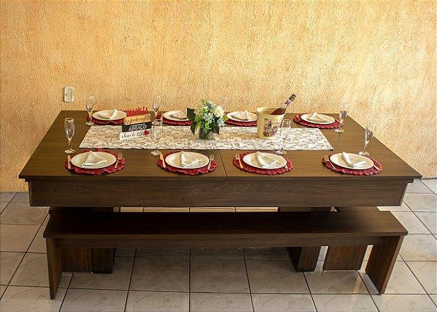 Mesa de Bilhar Versátil 2P Marsala com Tampo de Jantar e 4 Bancos