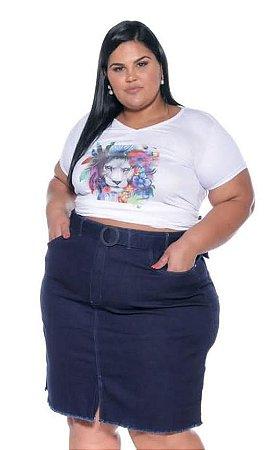 Saia Jeans c/ Cinto Plus Size