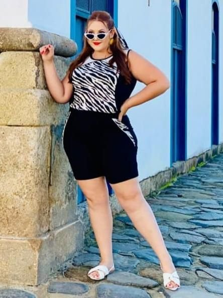 CONJUNTO SHORT PLUS SIZE ZEBRA