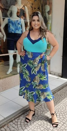 SAIA ENVELOPE PLUS SIZE AZUL ESTAMPADO
