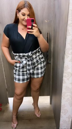 SHORTS PLUS SIZE XADREZ CLOCHARD