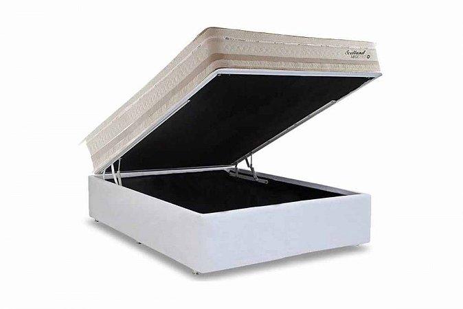 CONJUNTO:  BOX COM BAÚ + COLCHÃO HERVAL SCOTLAND MOLAS MAXSPRING CASAL 138X188