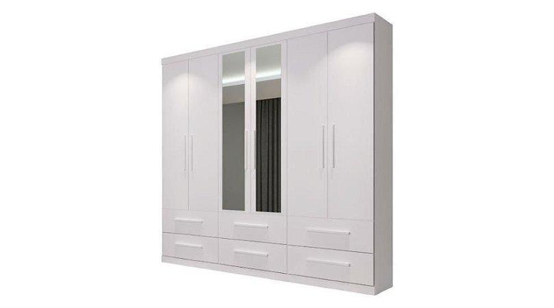 Guarda-Roupa 6 Portas Com Espelho, Édez PH1691, 6 Gavetas, Branco - Herval