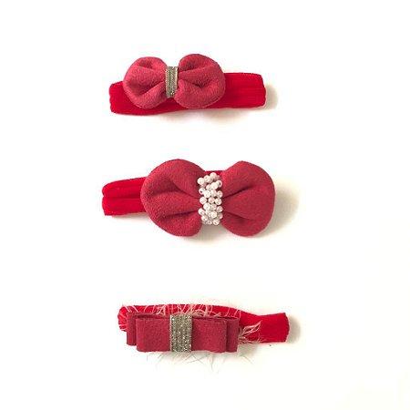 Conjunto tiara meia de seda red velvet