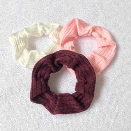 Conjunto Scrunchies: branco, rosa bebê e vinho