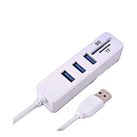 HUB USB 2.0 3 PORTAS LEITOR DE CARTÃO SD E MINI SD KNUP KP-T117