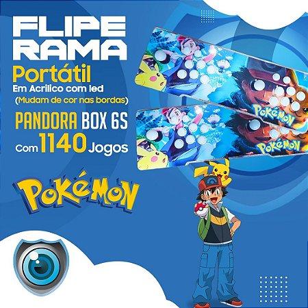 FLIPERAMA 2 JOGADORES POKÉMON EM ACRILÍCO COM LED P/ TV
