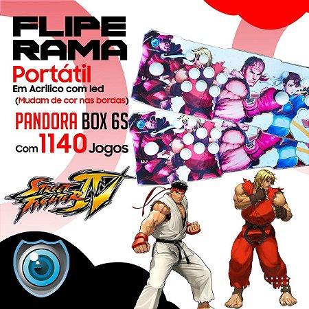 FLIPERAMA 2 JOGADORES STREET FIGHTER EM ACRILÍCO COM LED P/ TV