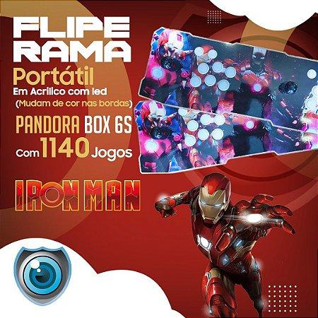 FLIPERAMA 2 JOGADORES IRON MAN EM ACRILÍCO COM LED P/ TV