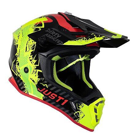 Capacete Just 1 J38 Mask - Amarelo Flúor/Vermelho/Preto