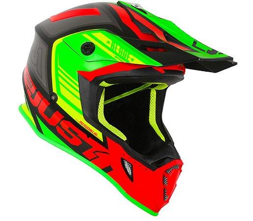 Capacete JUST 1 J38 BLADE - Verde/Vermelho Fosco