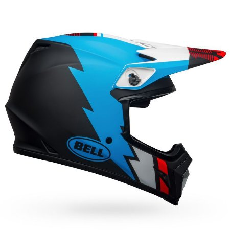 Capacete BELL MX9 MIPS - Preto Fosco/Azul/Branco