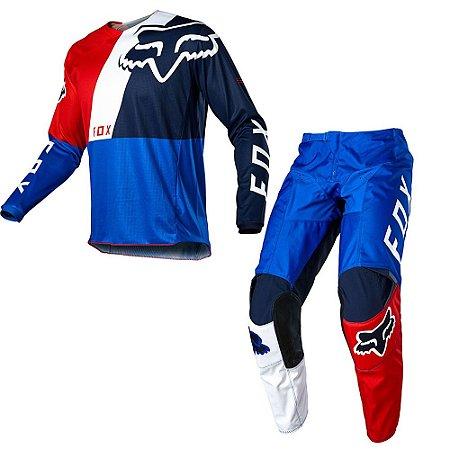 Conjunto Calça + Camisa FOX 180 LOVL Special Edition 2020 - Azul/Vermelho