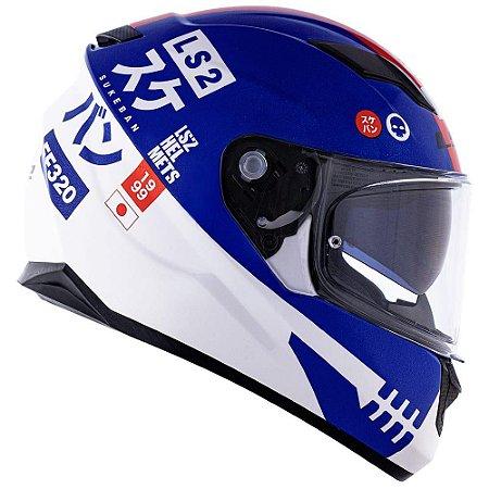 Capacete LS2 FF320 Sukeban - Azul/Branco/Vermelho