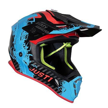 Capacete Just 1 J38 Mask - Azul/Preto/Vermelho