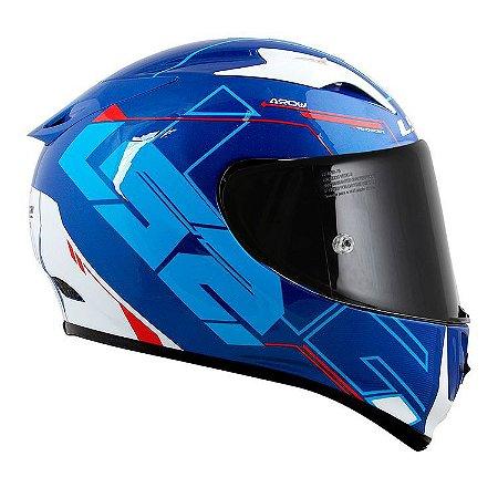 Capacete LS2 FF323 ARROW R Techno - Branco/Azul/Vermelho
