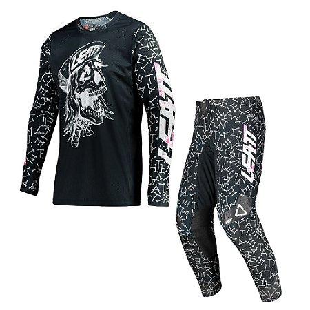 Conjunto Calça + Camisa Leatt Moto 4.5 - Skull Black Bones
