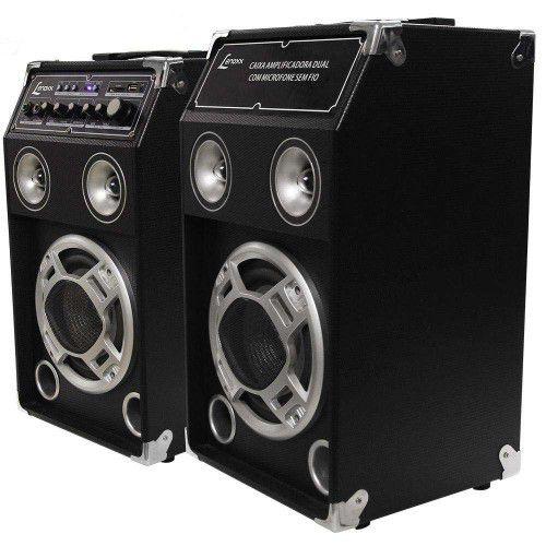 CAIXA DUPLA AMPLIFICADORA LENOXX SOUND CA-320, 130W RMS, ENTRADAS MICROFONE, USB, SD E AUXILIAR BIVOLT