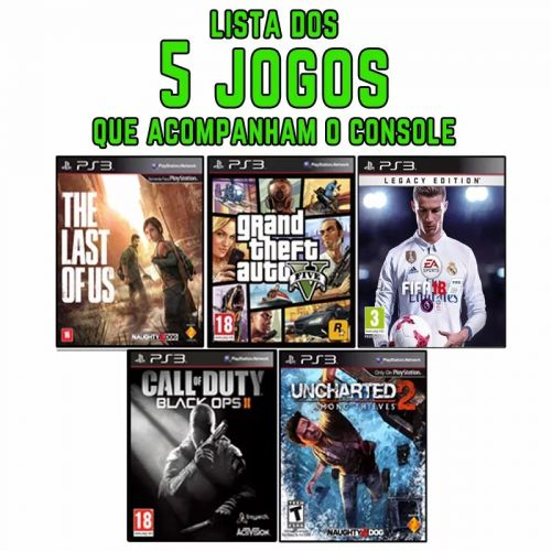 PS3 SLIM + GTA5 + THE LAST OF US + FIFA 18 + CALL OF DUTY