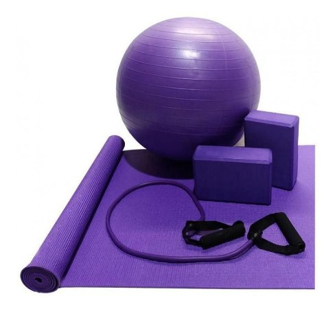 Tapete Yoga Pilates Ginastica Kit Academia Musculacao Bola