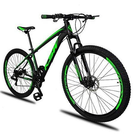"""QUADRO 21""""  - Bicicleta Aro 29 KSW XLT 21v Câmbios Shimano Freio a Disco Mecânico com Suspensão"""