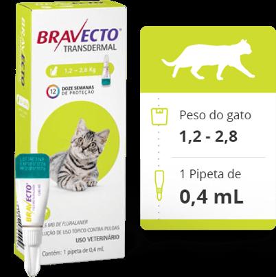 BRAVECTO GATO TRANSDERMAL - 1,2 a 2,8Kg