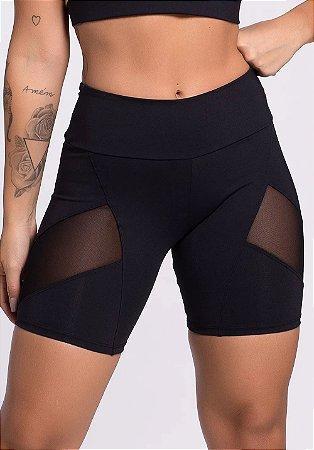 Shorts com transparência Preto