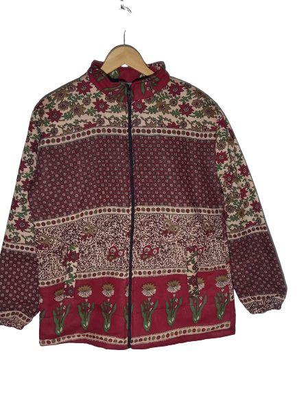 casaco acolchoado estampado de flor