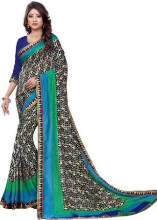 saree indiano estampa geometrica
