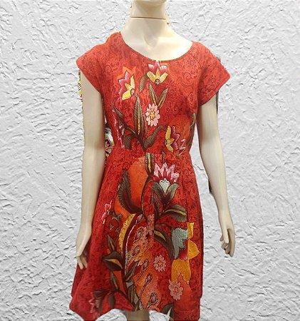 vestido estampado floral vermelho