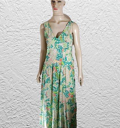 vestido indiano longo estampado verde