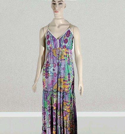 vestido indiano longo de alça estampado