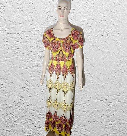 vestido indiano longo estampado com manga curta
