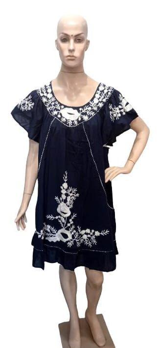 vestido curto bordado m/c solto