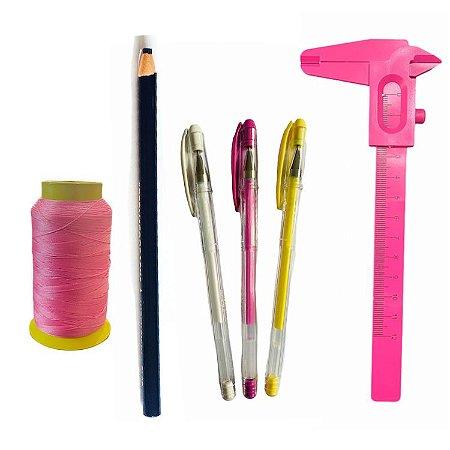 Kit design Sobrancelhas  Linha, paquímetro, 3 caneta e lápis
