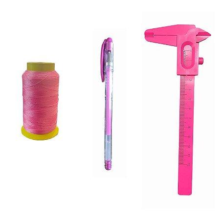 Kit design Sobrancelhas - Linha, paquímetro e caneta Rosa
