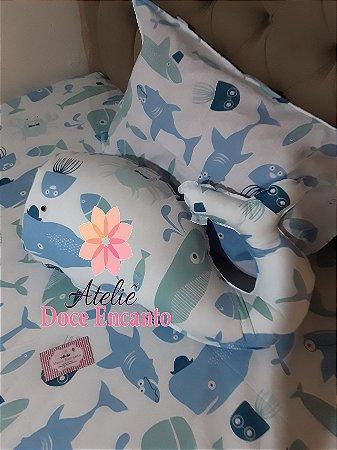 Jogo de cama infantil, 3 peças, com almofada decorativa em enchimento antialérgico