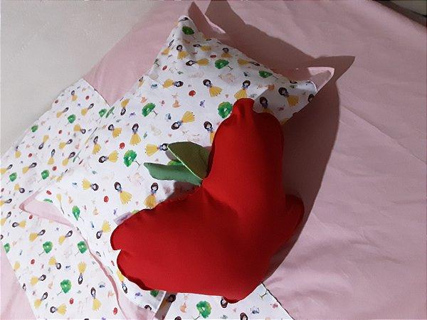 Jogo de cama infantil, 3 peças, com almofada decorativa em enchimento antialérgico tema branca de neve