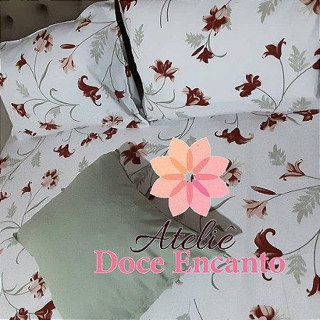 Jogo cama de casal 4 peças, almofada 45 cm com enchimento antialérgico